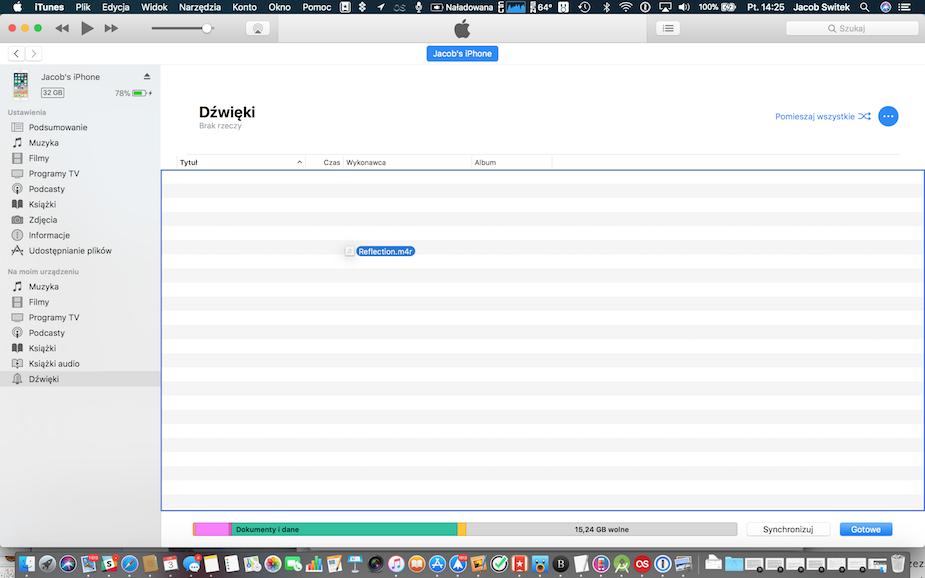 iTunes wgranie dzwonka