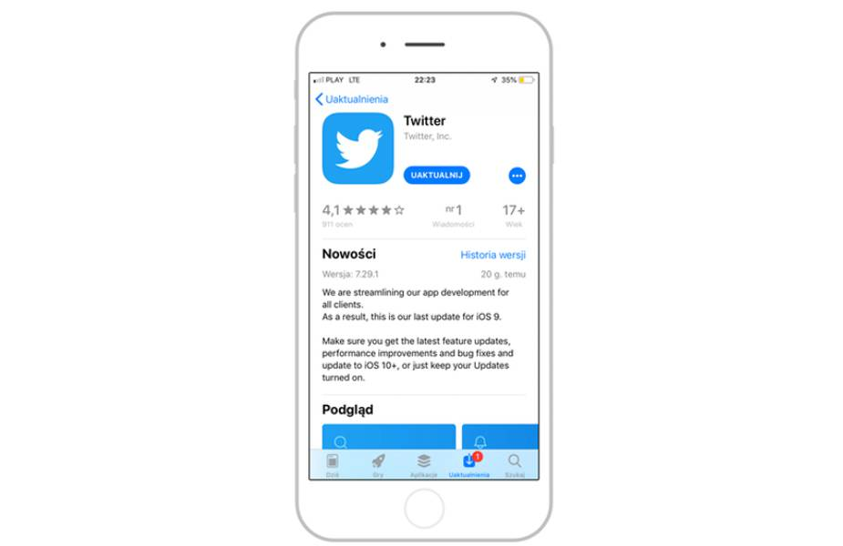 Twitter nie dla iOS 9
