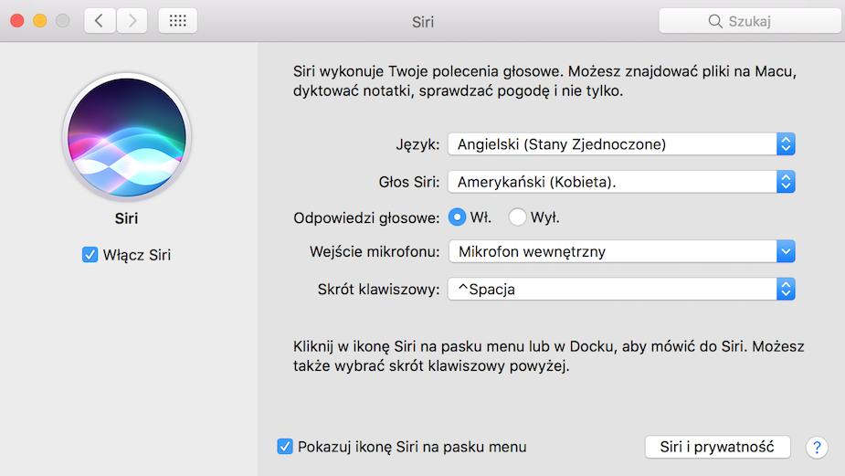 Preferencje systemowe Siri