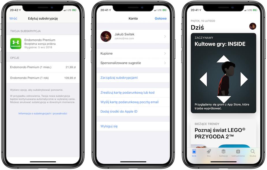 Zarządzenie subskrypcjami w iOS 12.1.4