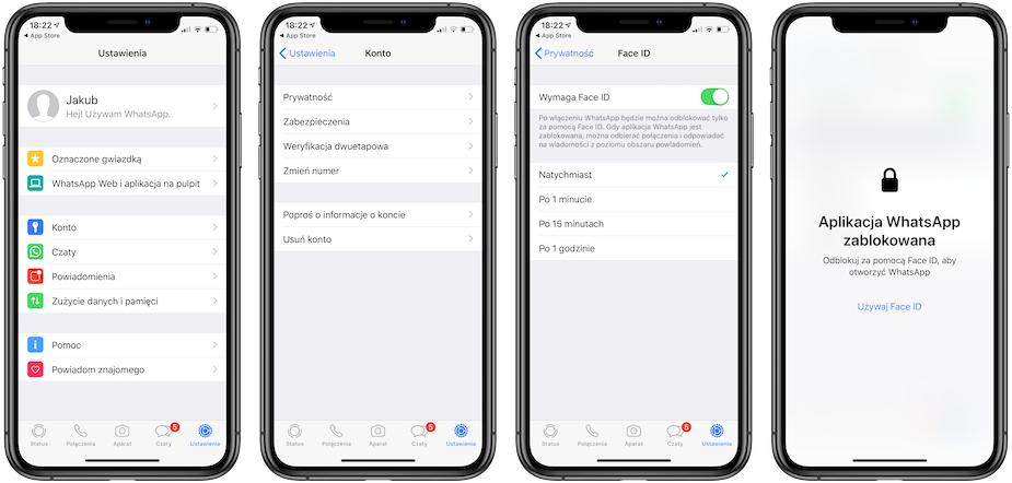WhatsApp dla iOS z Face ID i Touch ID