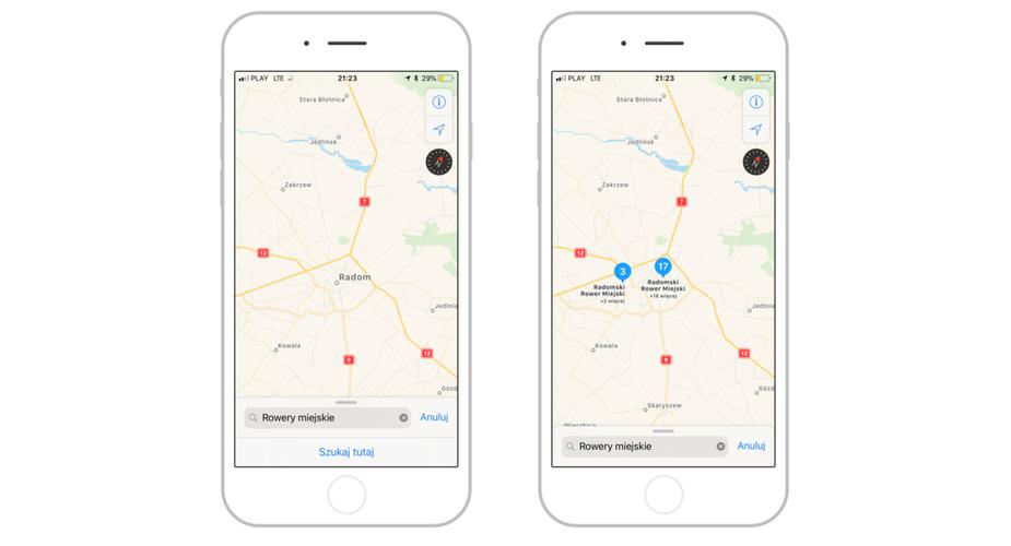 Rowery miejskie mapy Apple