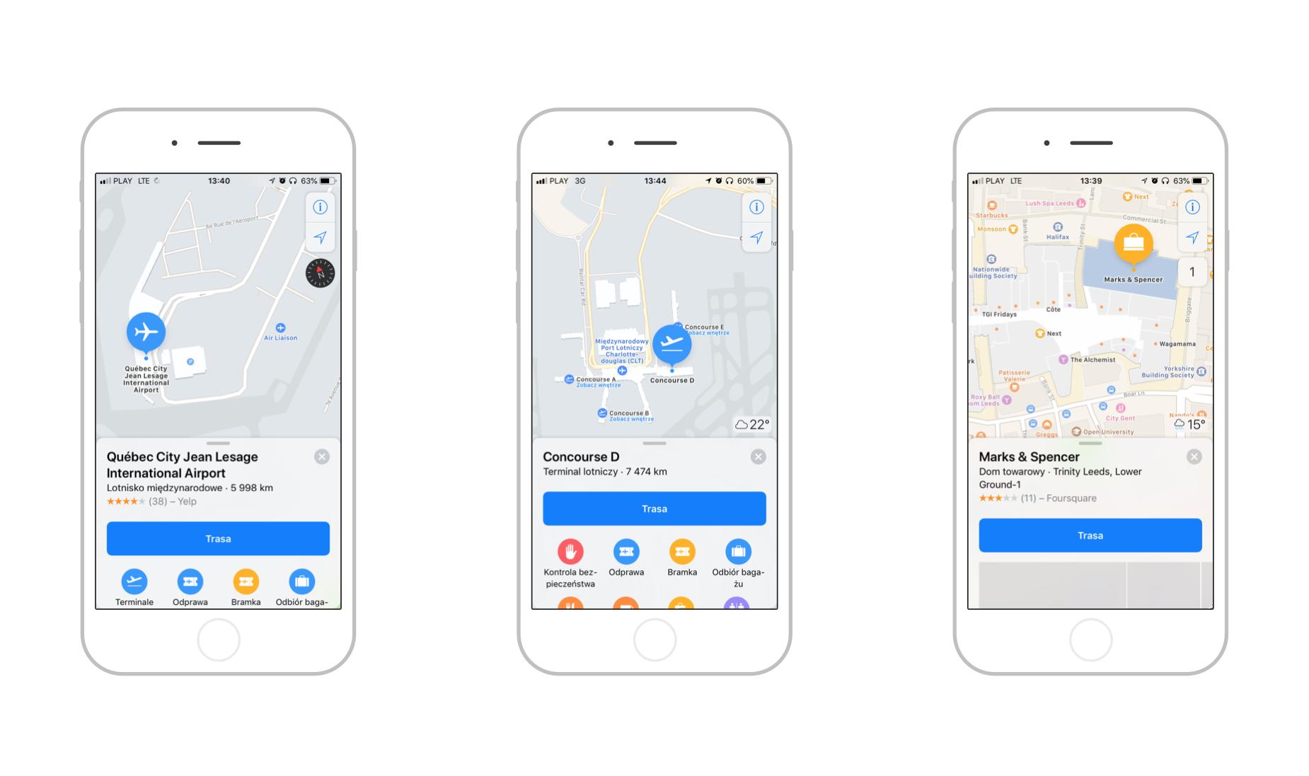 Plany lotnisk oraz centrum handlowego w mapach Apple
