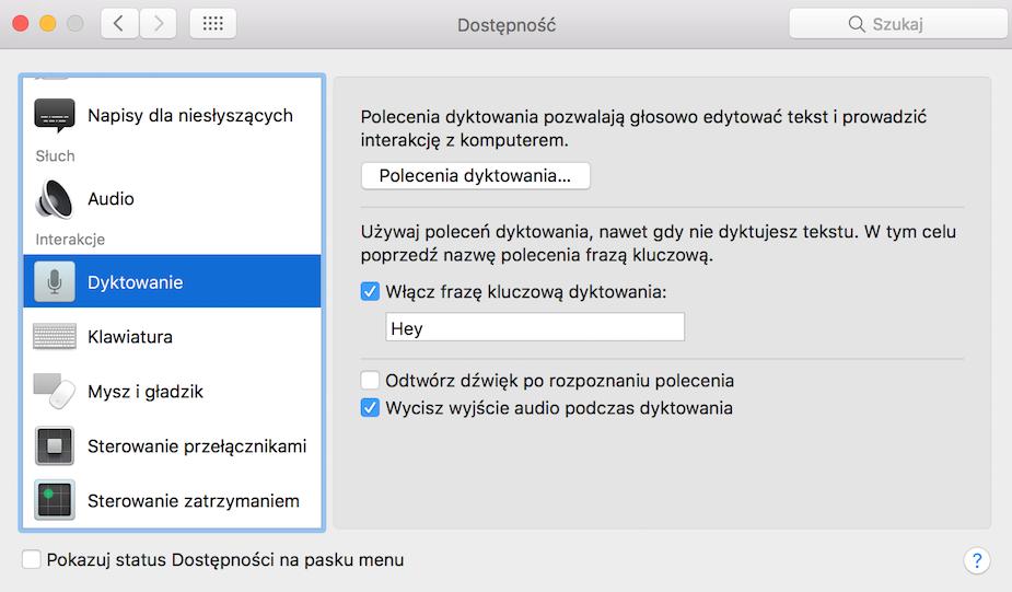 Siri macOS dostępność
