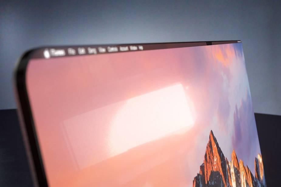 bezramkowy iMac z czarnym paskiem menu