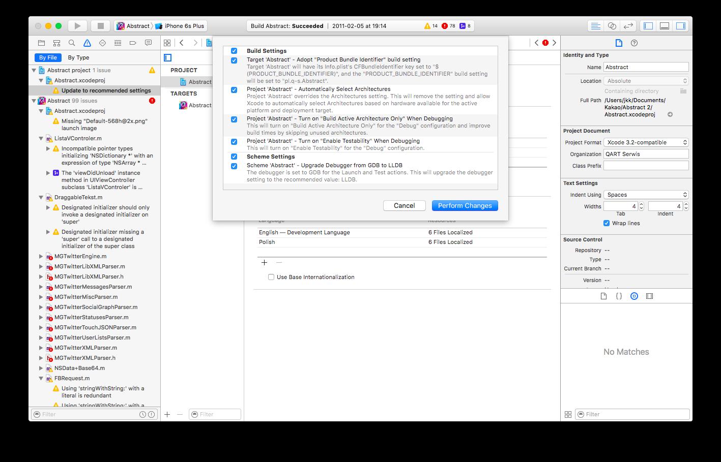 Xcode - duża ilość błędów do naprawienia w Puzzlach