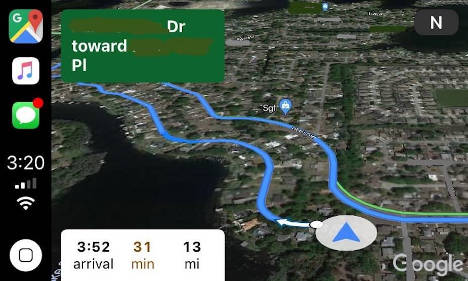 Google Maps dla CarPlay
